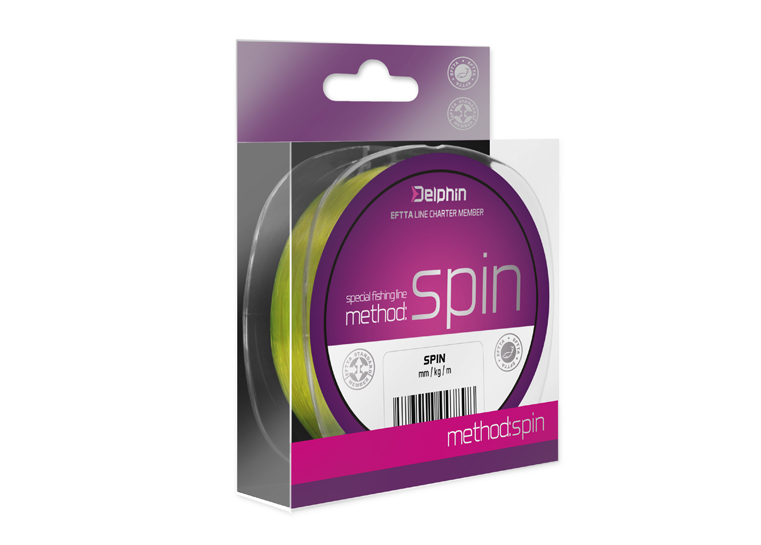 Delphin Method SPIN žltá 150m 0,10mm 2,2lbs