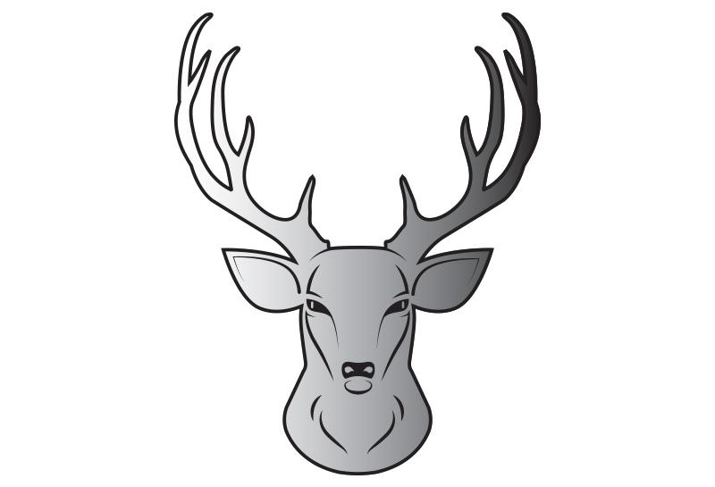 Nálepka jeleň hlava SILVER