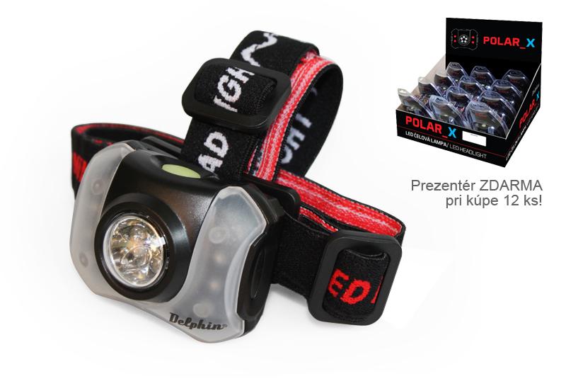 Čelová lampa Delphin POLAR_X5+4 LED